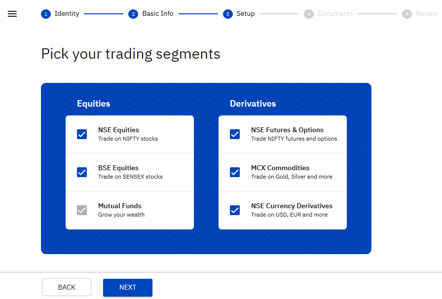 CHOOSING SEGMENT TO ACTIVATE FOR TRADING ACCOUNT