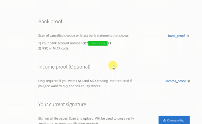 zerodha document upload