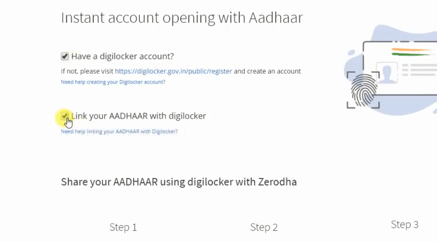 Share Aadhar with Zerodha