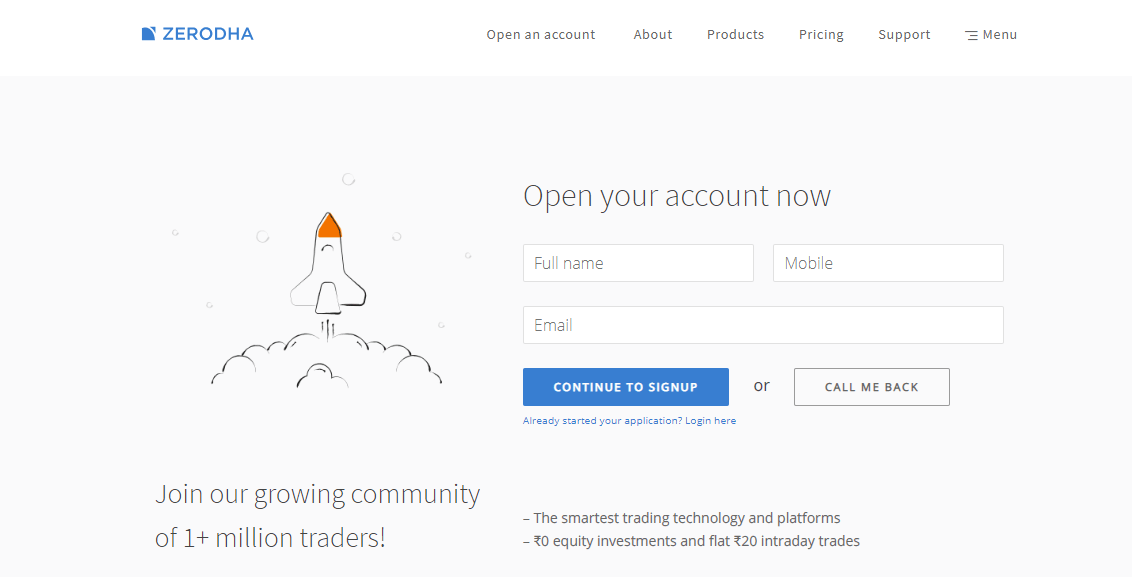 signup for account opening
