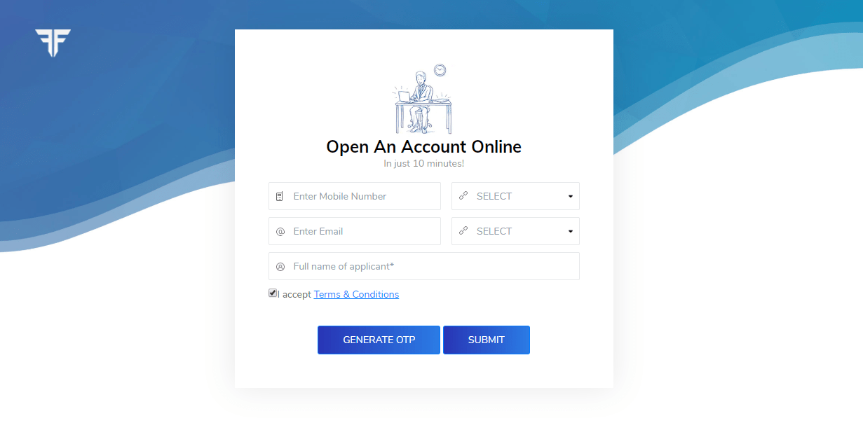 Fyers account opening landing page