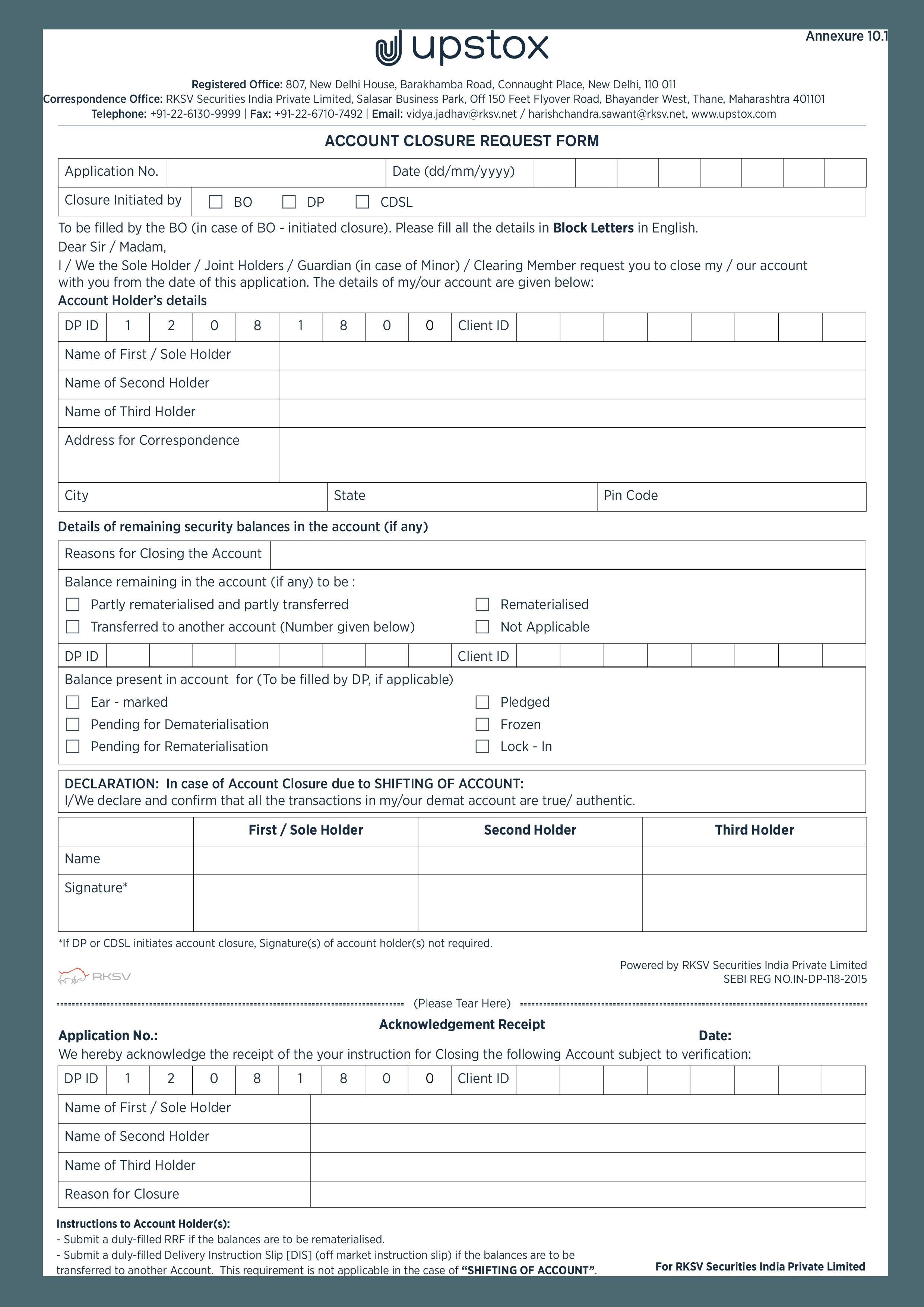 upstox account closure form