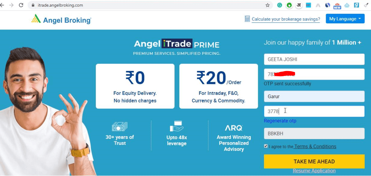 Angel Broking Account Opening Signup Page