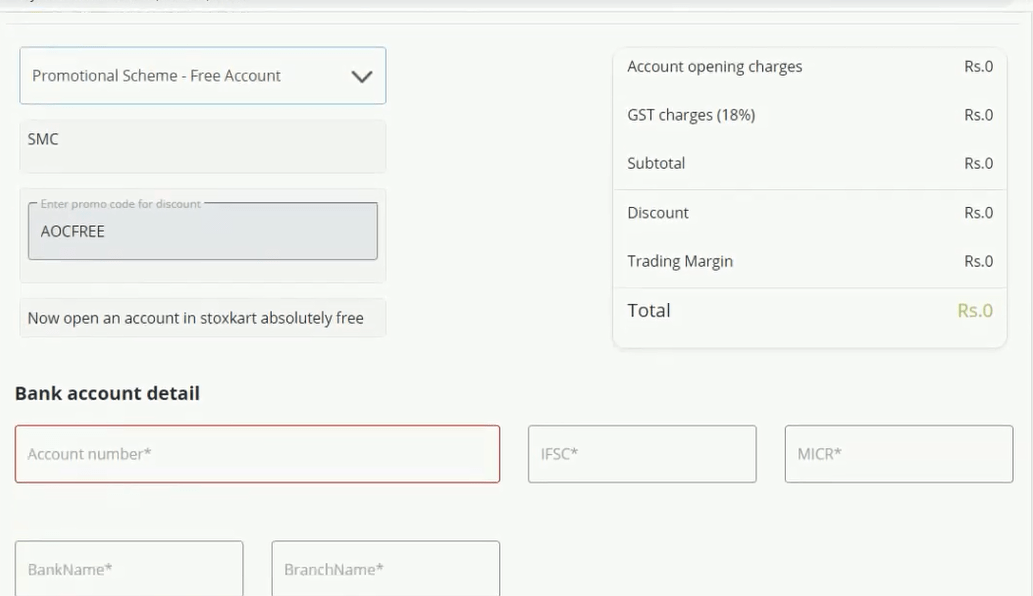 stoxkart account opening payment